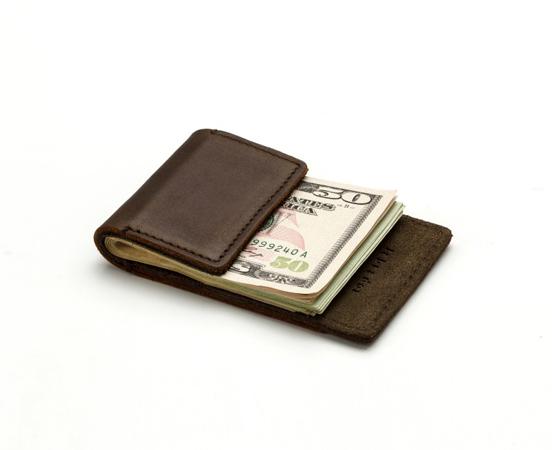 Pince à billets en cuir avec porte cartes intégré