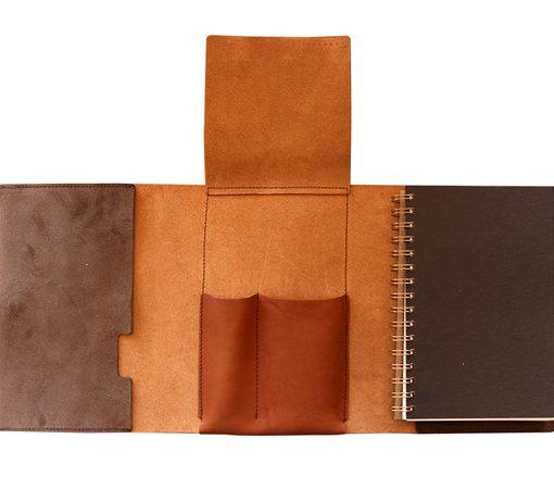 carnet de note en cuir avec tui stylo int gr. Black Bedroom Furniture Sets. Home Design Ideas