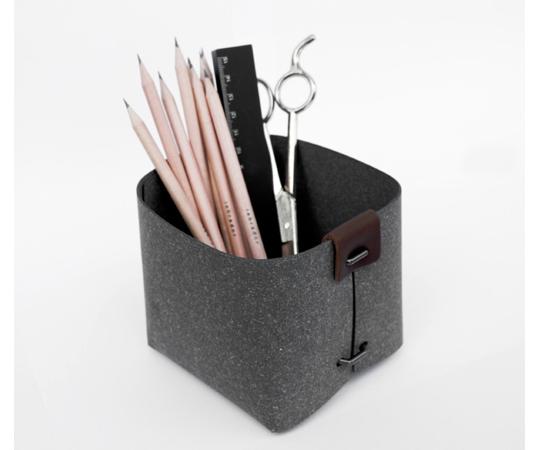 Vide-poches de bureau en cuir recyclé